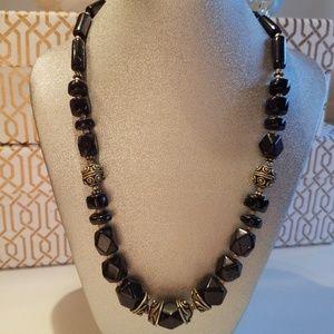 Midnight Shimmer Blue Goldstone Bead Necklace